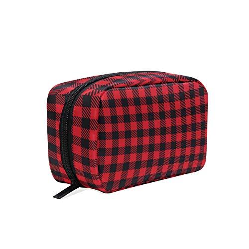 Makeup Cosmetic Bag Red Black Buffalo Plaid Seamless Portable Travel Train Case Toiletry Bags Organizer Multifunction Storage Bag