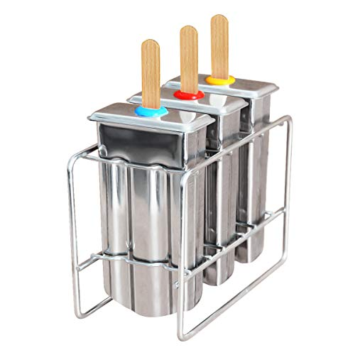 Kingleder Set of 3 Reusable Stainless Steel Popsicle Mold and Rack, BPA  Free Ice Pop Maker Kit, Ice Lolly Moulds, Frozen Ice Cream  Maker(Tray/molds/3