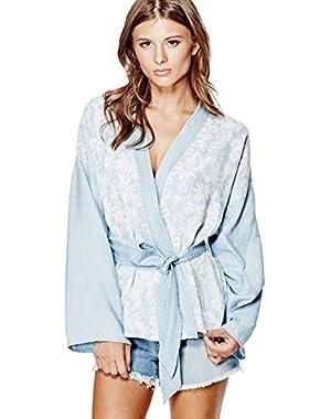 GUESS Chambray Kimono Wrap Jacket