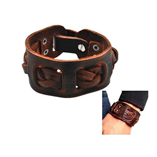 Antique Mens Brown Leather Cuff Bracelet, Leather Mens Wristband Handcrafted Jewelry Sl2258