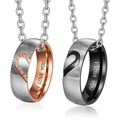 Fortheday Personalized Mens and Womens Promise Rings Set Free Engraving Stainless Steel Engagement Wedding Rings Band Set for Couples Valentines Day Jewelry (Couples Set)