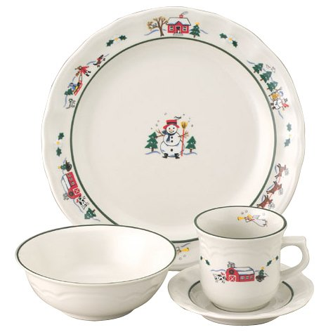 Fluted Rim Saucer - Pfaltzgraff Snow Village 16-Piece Dinnerware Set, Service for 4