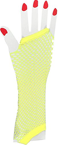 New Yellow 80s Punk Rock Fishnet Fingerless Long Gloves