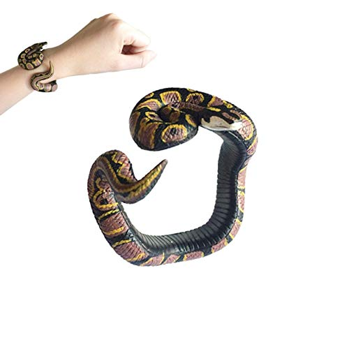Binory Simulation Resin Animal Python Bracelet Handmade Painted PVC Material Prank Toy for Kids Adults April Fools Day Birthday Gift (I)
