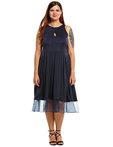 Meaneor Damen Große Größen Kleid 50er Jahre ärmellos Tüll Swing Chiffon Sommerkleid  Abendkleider Cocktailkleid Gr. 81feb70023