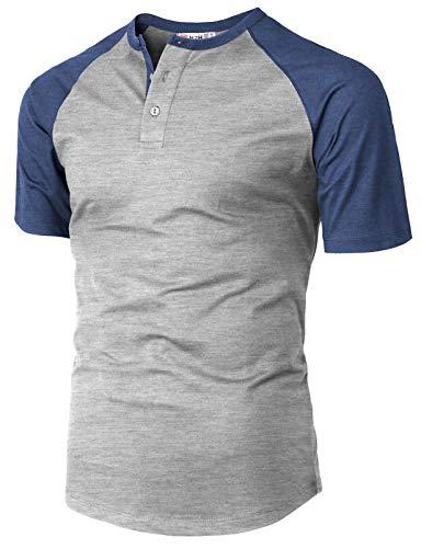 H2H Men's Casual Slim Fit Short Sleeve Henley Shirt Raglan Baseball T-Shirts Tee Gray US M/Asia L ()