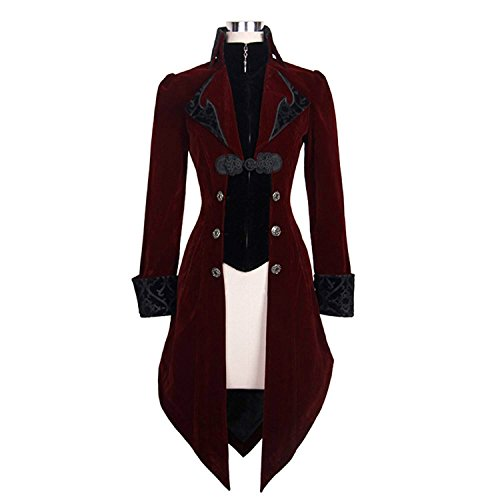 Devil Fashion Men's Swallow-Tail Jacket Red Mens Soft Coats Slim Fit Gothic Outwear Trenchcoats ()