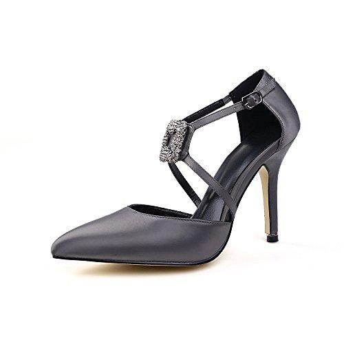 Zapatos Tacón gris Satén Aguja de Nine Seven con Puntiagudos wqCWqSgR