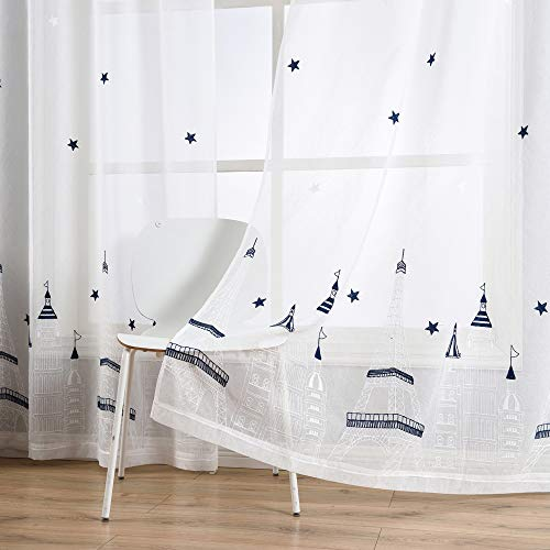 Taisier Home Stars Sheer Curtains 84 Inches Long for Living Room and Children Room,2 Panels Stars&Tower Embroidered Sheer Curtains,Grommet Top Style(White Navy,52
