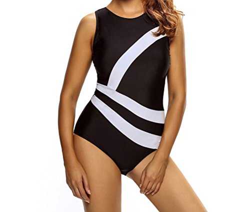 YeeATZ Women Contrast White Diagonal Splicing Black Monokini Swimsuit