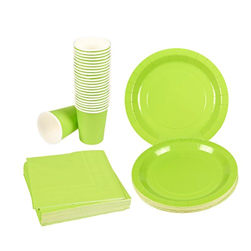 Green Party Supplies - 24-Set Paper Tableware - Disposable Dinnerware Set for 24 Guests, Including Paper Plates, Napkins and Cups, Green -
