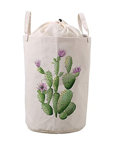 Print Baby Wipes Case - LifeCustomize Flowering Cactus Print Large Canvas Laundry Hamper Clothing Storage Bins Boxes Toy Organizer Nursery Folding Baskets with Handles