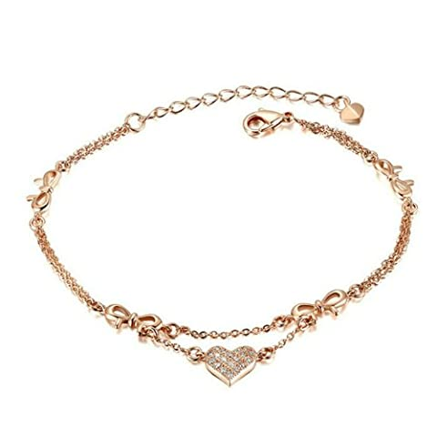Yoursfs Love Adjustable Braclet for Women Heart Pedant 18K Rose Gold Plated Charm Dainty Chain Bangle