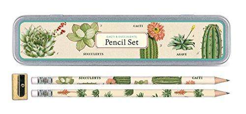 Cavallini Papers & Co., Inc. Succulents Pencil Set 10 1 Sharpener