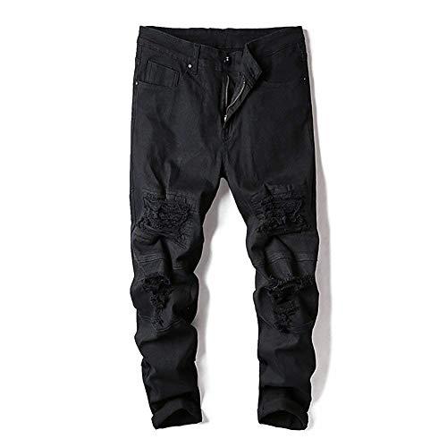 Fitness R De Negro Ropa Suaves Jeans Chern Y Moda Moda Hombres con Agujeros Tamaños Holiday Cómodos Cómodos Transpirable R Pantalones Pantalones Viajes Casual BqwwExc1RI