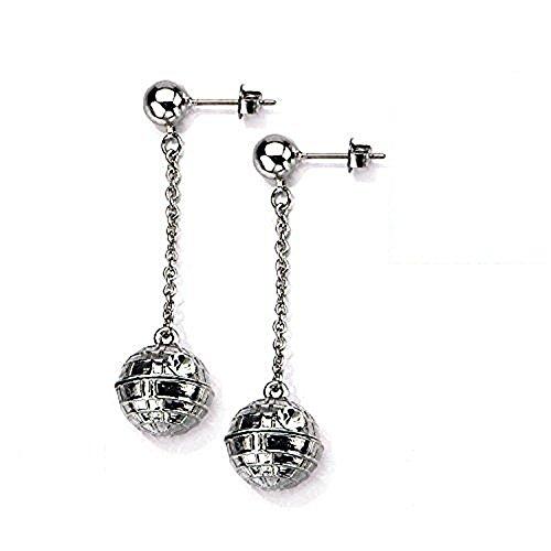 Disney Earrings Dangle (Disney Star Wars Women's Stainless Steel 3D Death Star Stud Dangle Earrings)