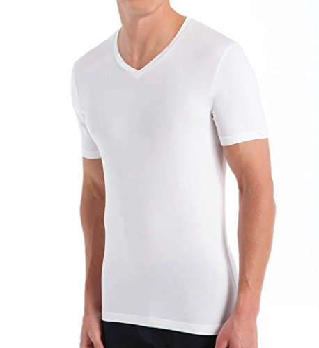 Cotton Boxers V-neck - Bread and Boxers V-Neck Cotton Blend T-Shirt (BNBUS107) L/White Traditional