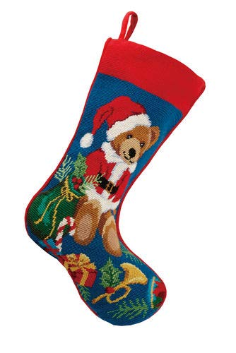 (Peking Handicraft Teddy Bear with Presents Needlepoint Christmas Stocking, Wool, 11 Inch x 18 Inch)