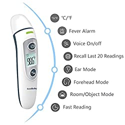 Digital Infrared Baby Thermometer - Forehead and Ear Thermometer with Fever Alarm and Memory Function - Ideal for Babies, Infants, Children, Adults, Indoor, and Outdoor Use