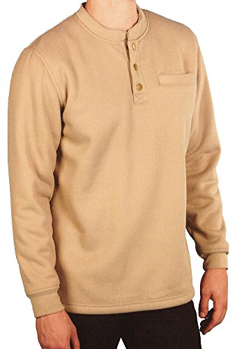 Woodland Supply Co. Men's Sherpa Lined Warm Winter Thermal Henley (Large, Dark Tan)