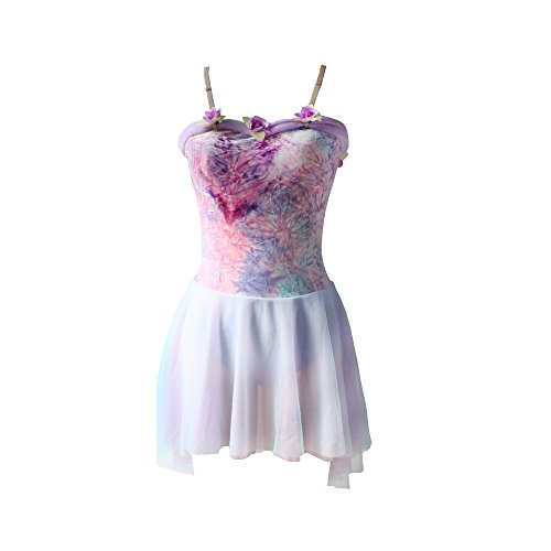 N-Dance Lyrical Dress Flower Bodice High Low Splicing Tutu Dancewear Princess Dress up NT027,Lavender multi,LC