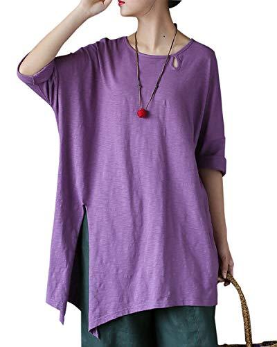 Aeneontrue Women's Cotton Short Sleeve Irregualr Hem Tunic Tops T-Shirts Blouses Tees (Purple, XX-Large)