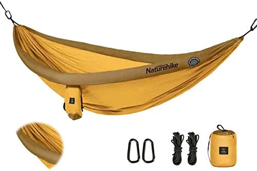 YAHILL Inflatable Camping Hammock with Tree Straps for 2 Person, Vacation Accessories, Heavy Duty, Lightweight Large Size 210T Nylon Double Parachute Hanging Hammocks with Rope for Outdoor Indoors