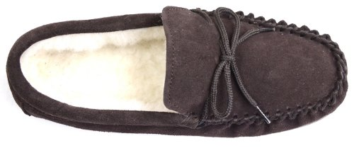 Suede Hard and Moccasin Size Slippers 13 Brown Lining Wool Sole Mens with T6g5wq8x