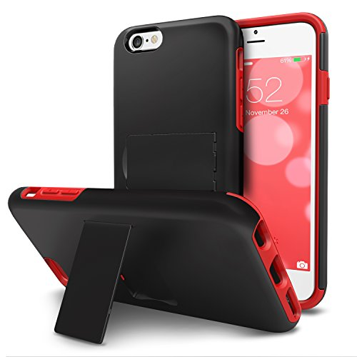 Shield Black Rubberized Case Protector (iPhone 6S Plus Case, iPhone 6 Plus Case, VENA [LEGACY] Slim Dual Layer Hybrid Case with Kickstand and Screen Protector for Apple iPhone 6 Plus, 6S Plus (5.5