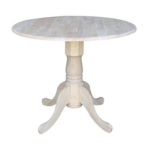 (Transitional Casual Round 36-inch Dual Drop-leaf Parawood Dining Table)