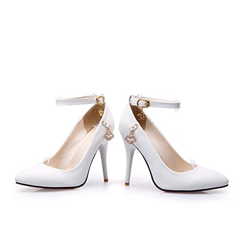 BalaMasa Ladies Buckle Pointed-Toe Charms Urethane Pumps Shoes White p2GNXyPd