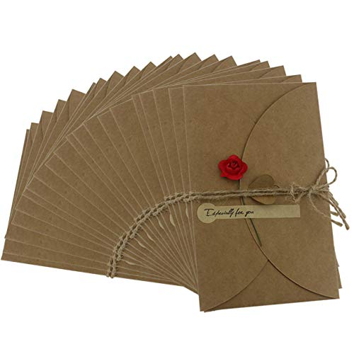 Ogrmar Brown Kraft Paper Thank You Cards Thank U Greeting Card with Kraft Paper Envelopes for Wedding, Graduation 6.9