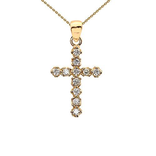 - Elegant High Polish Reversible 14k Yellow Gold Diamond Cross Dainty Charm Pendant Necklace, 16