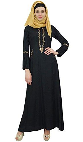 mit Bimba Arbeit Muslim Aari Jilbab Hijab islamischem Mädchen Abaya Kleid Frauen 48 Black qCw8HxqT