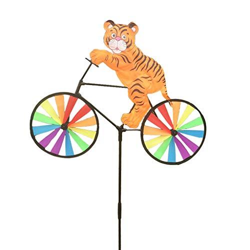 - JUA PORROR Cute 3D Animal on Bike Windmill Wind Spinner Whirligig Garden Lawn Yard Decor (Tiger)
