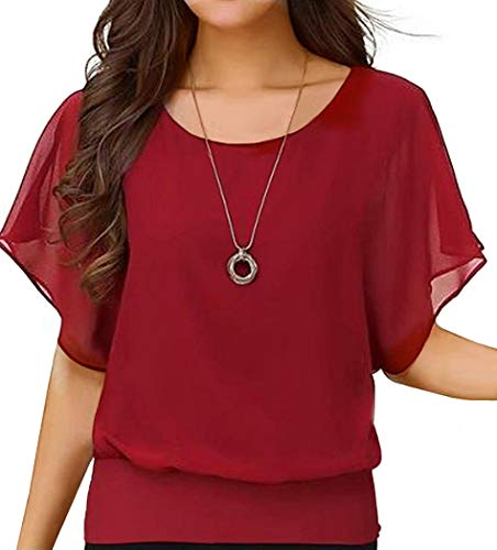 Neineiwu Ladies Loose Chiffon Top Round Neck Bat Short Sleeve Casual T-Shirt (Red S)