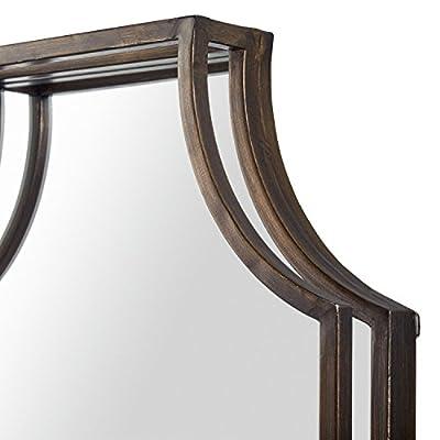 "Stone & Beam Antique-Style Metal Frame Mirror, 32""H, Brown"