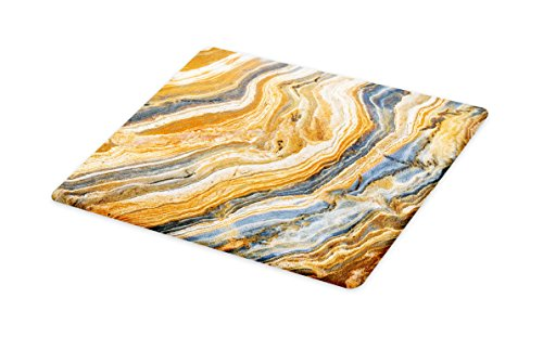 Lunarable Marble Cutting Board, Colorful Rock Quartz Surface Background Formation Abstract Picture, Decorative Tempered Glass Cutting and Serving Board, Large Size, Slate Blue Orange Apricot