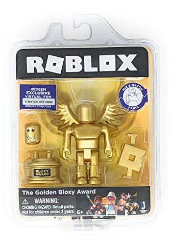 Roblox Gold Collection The Golden Bloxy Award Single Figure Pack with Exclusive Virtual Item Code (Figure Gold Trophy)