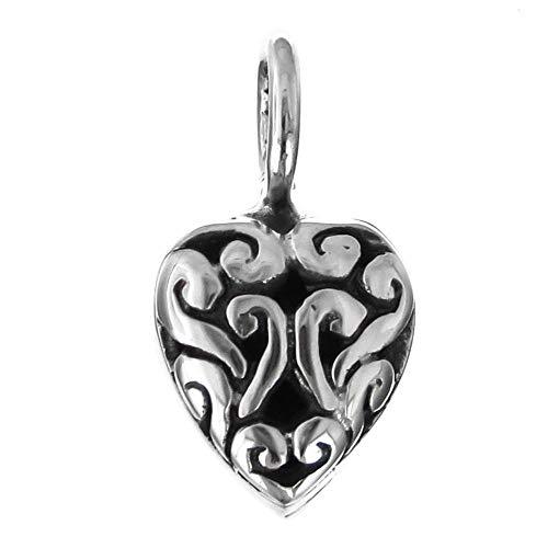 - 1/2'' Delicate Handmade Heart Bali 925 Sterling Silver Pendant YE-604