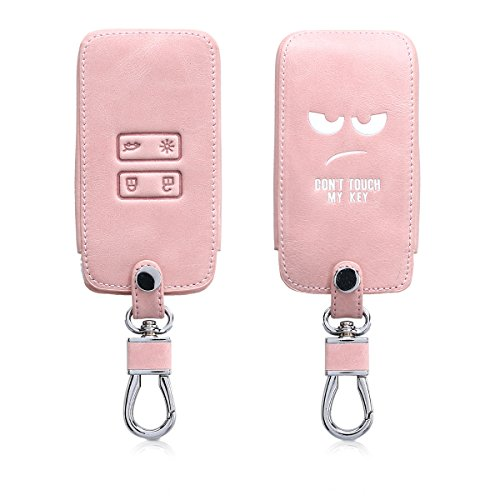 - kwmobile Car Key Cover for Renault - Heavy Duty PU Leather Protective Key Fob Cover for Renault 4 Button Car Key Smart Key (only Keyless Go) - White/Rose Gold