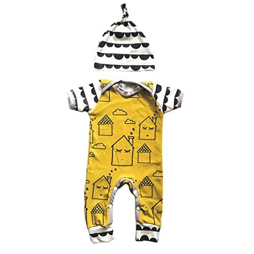 Fineser Infant Toddler Baby Boys Girls Cartoon Print Short Sleeve Romper Jumpsuit Bodysuit With Hat