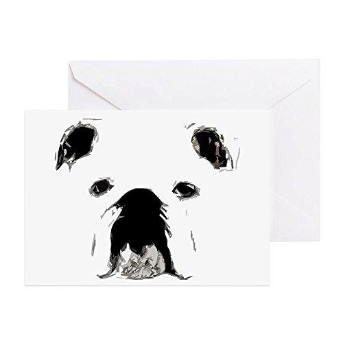CafePress - Bulldog Bacchanalia - Greeting Card (20-pack), Note Card with Blank Inside, Birthday Card Glossy