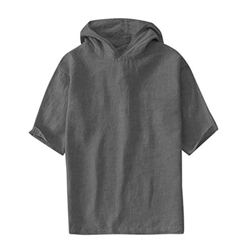 (MIS1950s Shirts for Men Breathable Cotton Linen Short Sleeve Hooded T Shirt Blouse Mens Comfy Solid Color Tunic Tops)