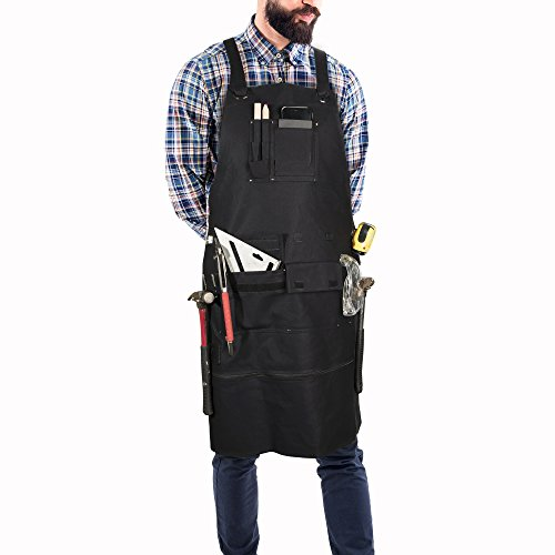 Premium Waxed Canvas Tool Apron with Metal Tape Measure Clip, Metal Hammer Holder, Metal Buckle, Adjustable Length 29-36in, Adjustable Back, Heavy Duty Woodworking Tattoo Barber Work Apron by Mont Bermion