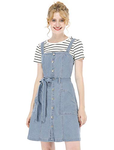 Front Denim Mini Dress - Allegra K Women's Classic Adjustable Strap A-Line Overall Denim Dress S Light Blue