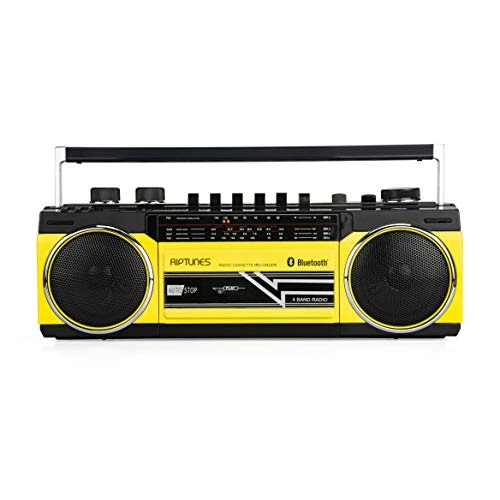 Riptunes Cassette Boombox, Retro Blueooth Boombox, Cassette Player and Recorder, AM/FM/ SW-1-SW2 Radio-4-Band Radio, USB, SD, Headphone Jack, -