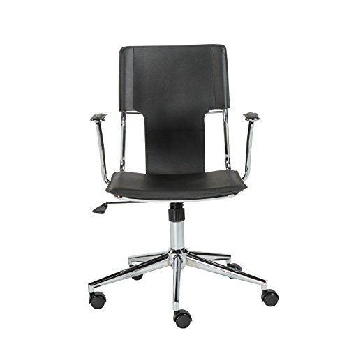 Euro Style Terry Adjustable Office Chair, Black Leatherette with Chrome Frame
