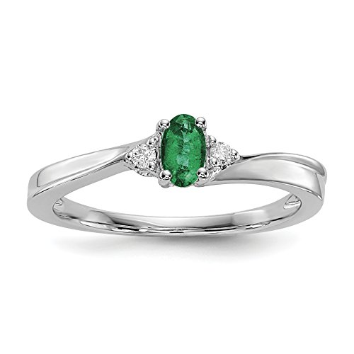 ICE CARATS 925 Sterling Silver Created Green Emerald Birthstone Band Ring Size 7.00 May Fine Jewelry Gift Set For Women Heart Bar Set Engagement Ring