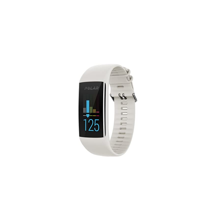 Polar A370 Fitness Band (White, Medium/Large) GIFT BOX Bundle | Includes Extra Band (Blue), PlayBetter USB Car/Wall Adapter, Protective Case | GPS Activity Tracker, Wrist HR | Black Gift Box
